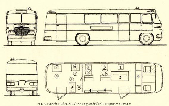 Ikarus 630-as szűrőbusz jellegrajza.